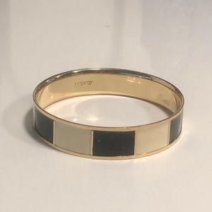 JCrew Gold Bangle Bracelet with Stripe Details